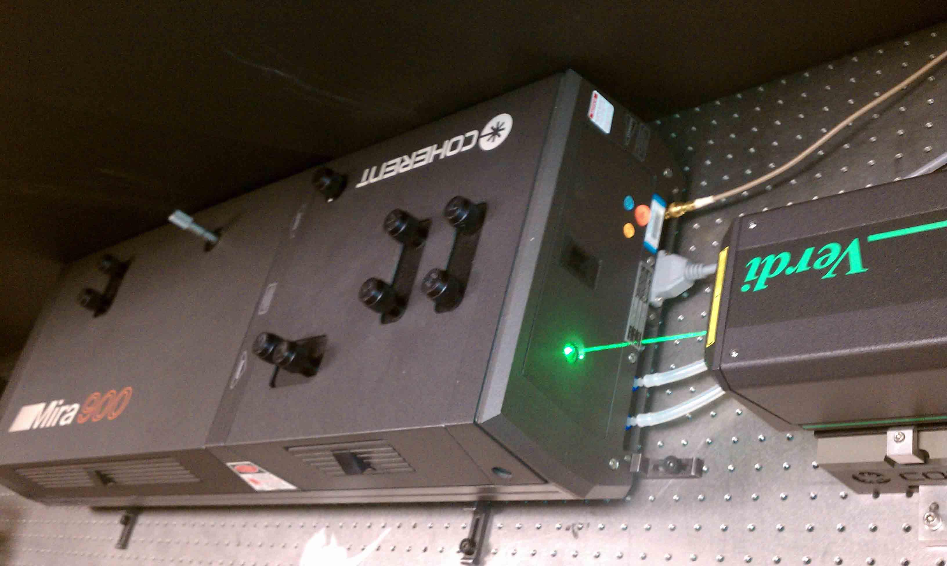 Mira Ti:Sapphire laser pumped with Argon laser